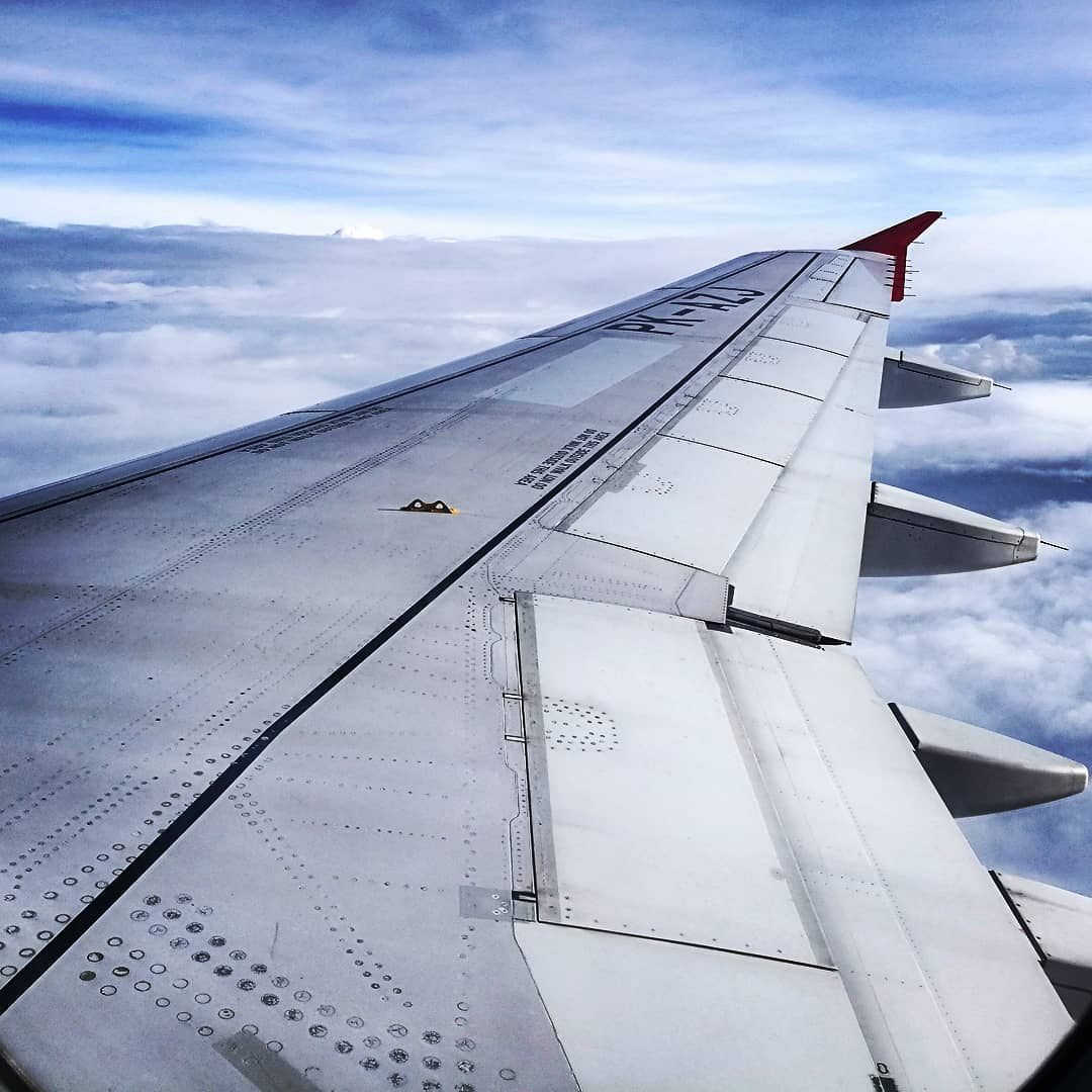 air asia, wing, clouds, journey